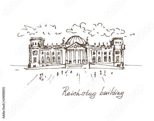 Hand drawn Reichstag building in Berlin, German parliament. Berlin landmark, Germany. Vector illustration. Sketch. Vector. © bekkersara