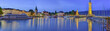 Leinwandbild Motiv Lindau Bodensee Hafen Panorama beleuchtet