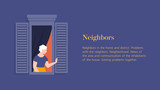 Old woman in the window of an apartment. A neighbor waving and greeting. Template banner with text. Vector flat illustration - 240122752