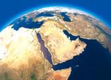 Cartina fisica del mondo, vista satellitare del Medio Oriente. Africa, Asia. Globo. Emisfero. Rilievi e oceani. 3d rendering