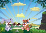 Picture - Kitten And Rabbit With Ice Cream Outdoors