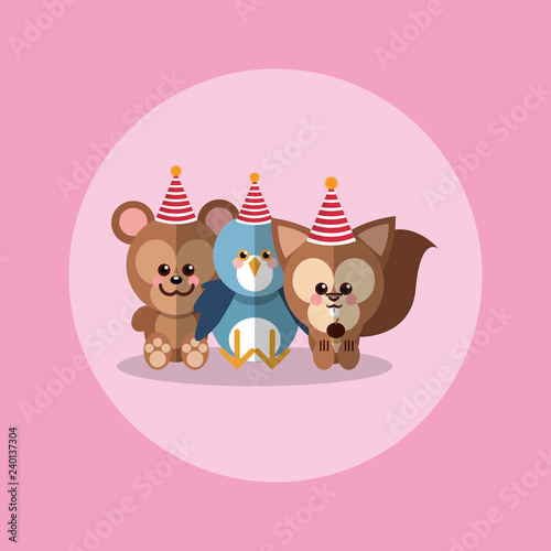 cute festive animals with party hat image