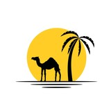 Camel and Palm Tree in the Sunshine Silhouette Icon