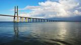 Vasco da Gama bridge over Tagus river seen from Park of Nation ,Lisbon, Portugal