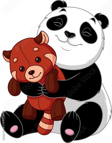Panda hugs toy red panda