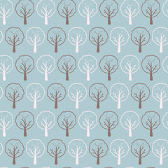 Kawaii Smiley Face Tree Seamless Vector Pattern, Hand Drawn, Adorable, Happy . Stylized Deciduous Forest Border. Summer Nature Graphic for New Baby Stationery, Blog Button, Cute Kid Fashion Elements.