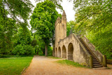 Park behind Speyer Cathedral with old city fortification and tower, Speyer, Germany