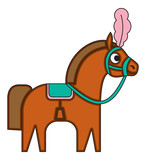 Circus horse in cartoon flat style