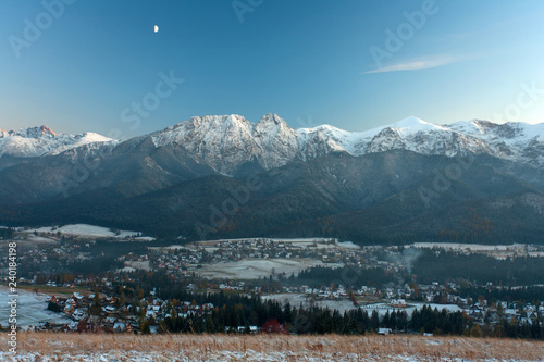 view from Koscielisko village to the Zakopane city, Giewont Mountain and Tatra Mountains, Poland