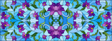 Illustration in stained glass style with intertwined purple flowers and leaves on blue background, horizontal orientation © Zagory