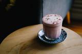 Rose beetroot latte art with vegan coconut milk - 240200317