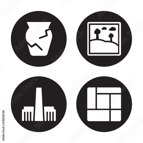 4 vector icon set : Ancient jar, Tate modern, Artwork, Mondrian isolated on black background © CoolVectorStock