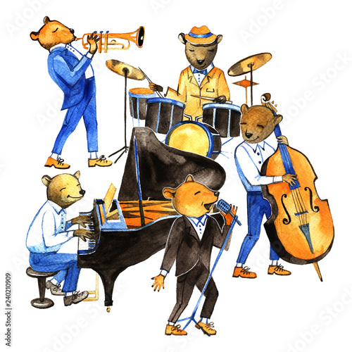 Watercolor jass band music. Good illustration with bears musicians.
