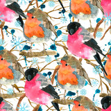 Seamless pattern with funny winter birds, bullfinch and snowbird on tree branches. Natural hand painted watercolor illustration with animals