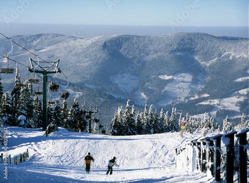 Skrzyczne Mountain, Szczyrk, Beskid Slaski Mountains, Poland: February, 2011 - ski lift on Skrzyczne Mountain