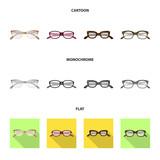 Vector illustration of glasses and frame logo. Collection of glasses and accessory vector icon for stock.