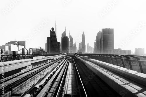 Dubai Metro. View of the city. UAE. Black and white photo.