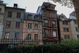 Rouen, France - October 10, 2018: Beautiful traditionally decorated houses of French Brittany. Medieval heritage of Europe