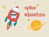 Cute funny cat astronaut in glasses flying on a rocket.