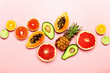 Summer tropical fruits, top view - 240232988