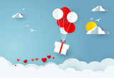 Love and valentine day. Balloons carries gift box and hearts on sky