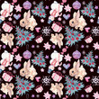 Seamless pattern with Christmas and New Year symbolics. Watercolor illustration. - 240247708