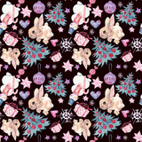 Seamless pattern with Christmas and New Year symbolics. Watercolor illustration.