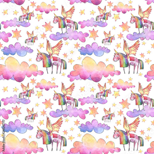 Watercolor illustration. Seamless pattern with bright rainbow clouds, unicorns and stars.