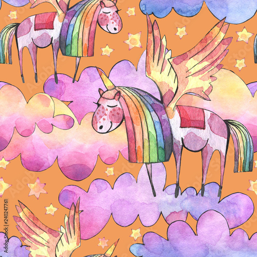 Watercolor illustration. Seamless pattern with bright  rainbow clouds, unicorns and stars. - 240247761