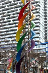 Rainbow color spirals in the Gay Village, Toronto, Canada