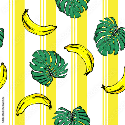obraz PCV Summer banana and plam leves on resort stripe seamless pattern ,vector fot fashion fabric and all prints wallpaper