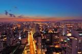 Aerial view of sunset on the São Paulo city