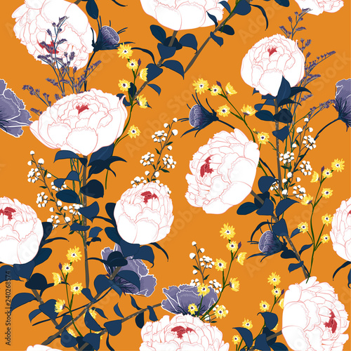 Trendy white blooming peony  Floral pattern with  many kind of flowers. Botanical ,Seamless vector texture for fashion fabric, - 240268574