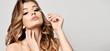 Leinwanddruck Bild - Beauty woman hold black mascara eyelashes  makeup brush clear healthy face portrait