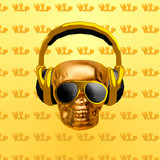 Contemporary art collage. Music concept. Golden Skull DJ. Luxury vip mood - 240280780