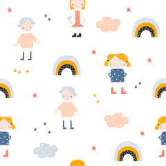 Seamless pattern with cartoon girls and rainbow. Cute kids print. Vector hand drawn illustration.