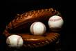Baseballs inside Baseball Glove Catchers Mit