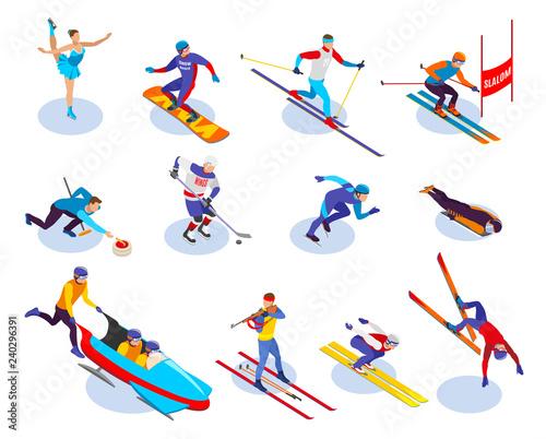 Winter Sports Isometric Icons Set
