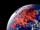 Satellite view of Europe on Earth with city lights. Extremely detailed plastic planet surface with real mountains. - 240296793