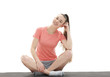 Leinwanddruck Bild - fitness, sport, people and healthy lifestyle concept - woman making yoga meditation in lotus pose on mat