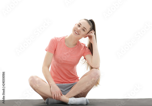 Leinwanddruck Bild fitness, sport, people and healthy lifestyle concept - woman making yoga meditation in lotus pose on mat