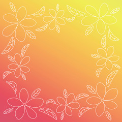 Red and yellow vector frame with white outline flowers.