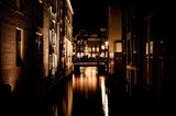 Amsterdam night landscape, night city concept. Architecture landmark city. Night lights