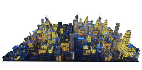 the layout of the city at night 3d rendering  © denissimonov