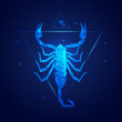 scorpio horoscope sign in twelve zodiac with galaxy stars background, graphic of wireframe scorpion
