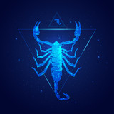 scorpio horoscope sign in twelve zodiac with galaxy stars background, graphic of wireframe scorpion - 240319966