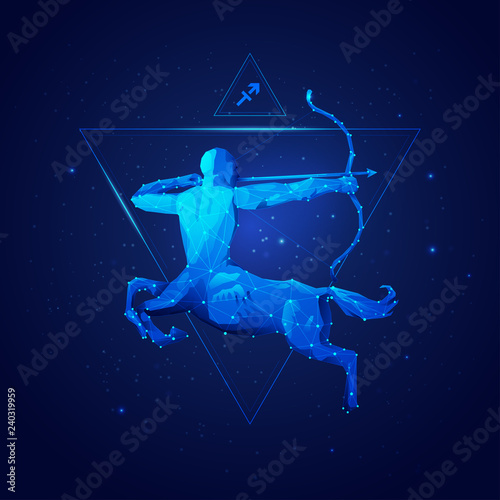sagittarius horoscope sign in twelve zodiac with galaxy stars background, graphic of wireframe centaur © Jackie Niam
