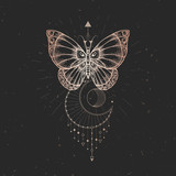 Vector illustration with hand drawn butterfly and Sacred geometric symbol on black vintage background. Abstract mystic sign.