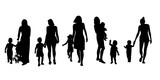 Set of silhouettes of women with children, vector.