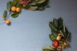 decor from fruits and leaves on a background of breakfast - 240334501
